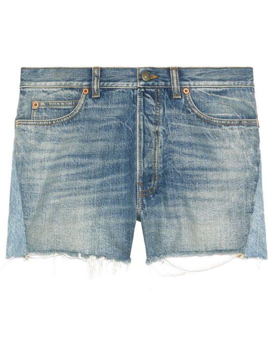 Gucci patchwork detailing frayed denim shorts - Blau