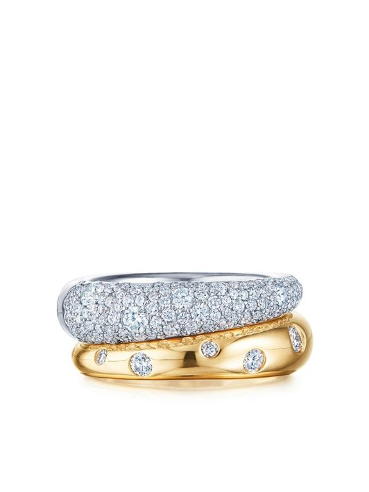 KWIAT 18kt white and yellow gold Cobblestone diamond double band ring