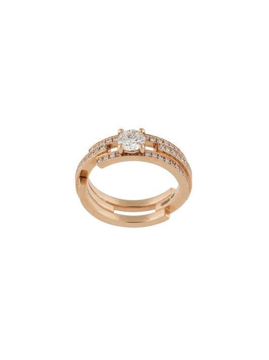 Maison Dauphin Dreifacher 18kt Rotgoldring mit Diamanten
