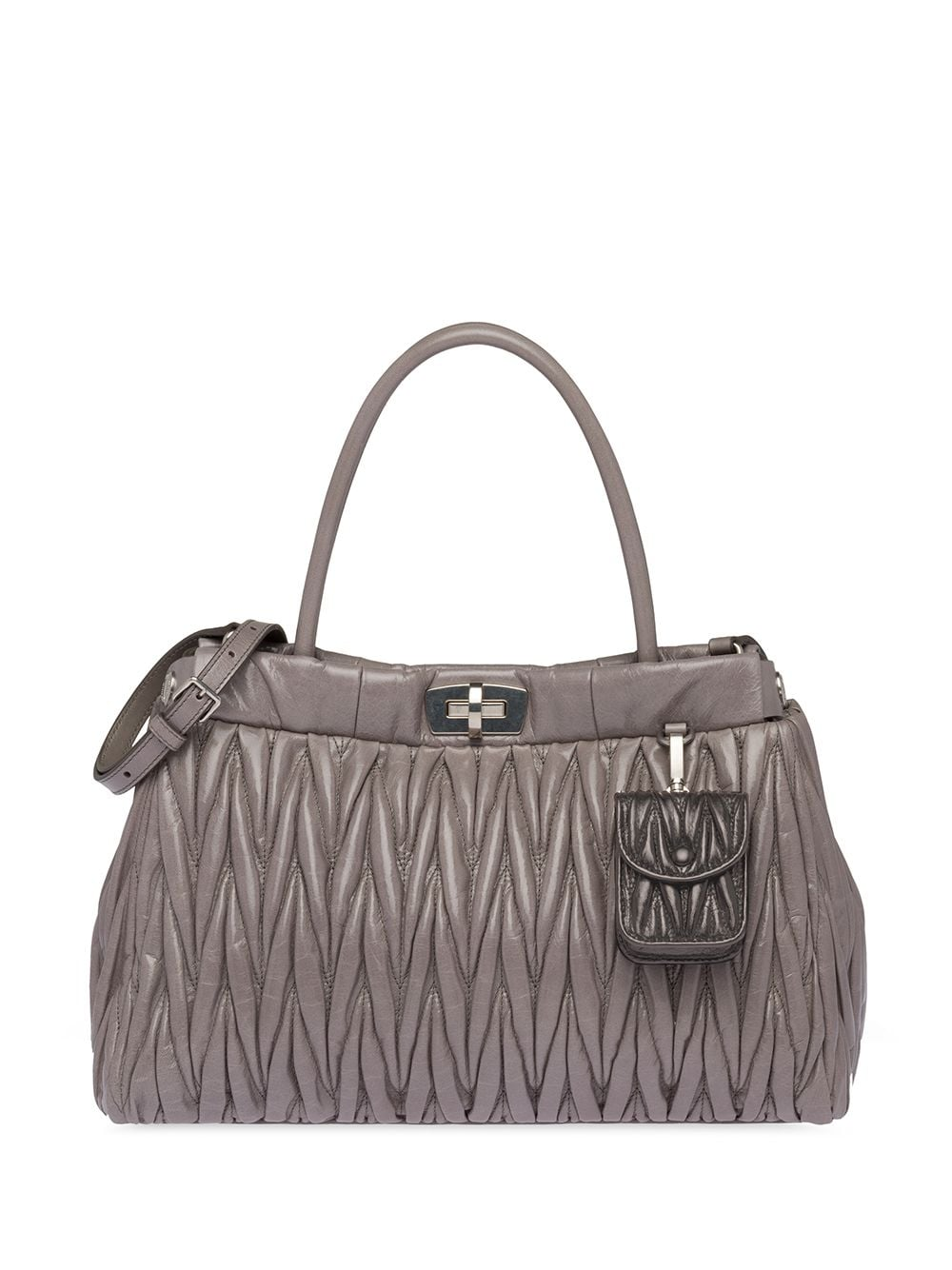 Miu Miu Handtasche aus Matelassé-Leder - Grau