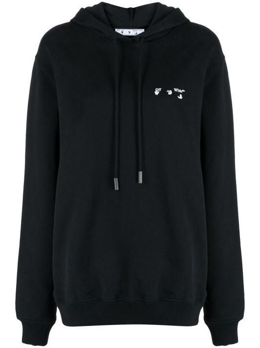 Off-White Oversized-Hoodie mit Logo - Schwarz