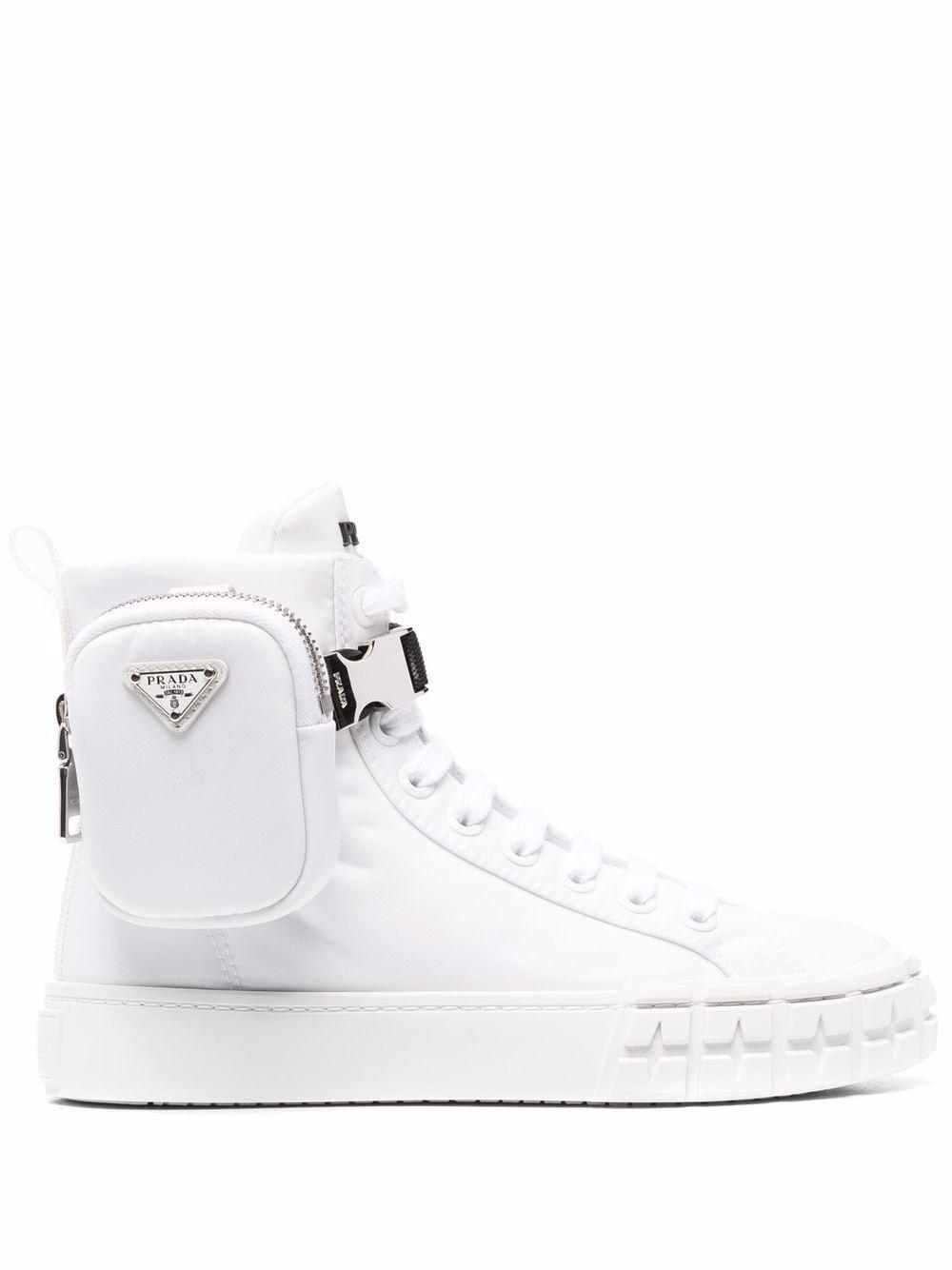 Prada Re-Nylon pouch detail high-top sneakers - Weiß