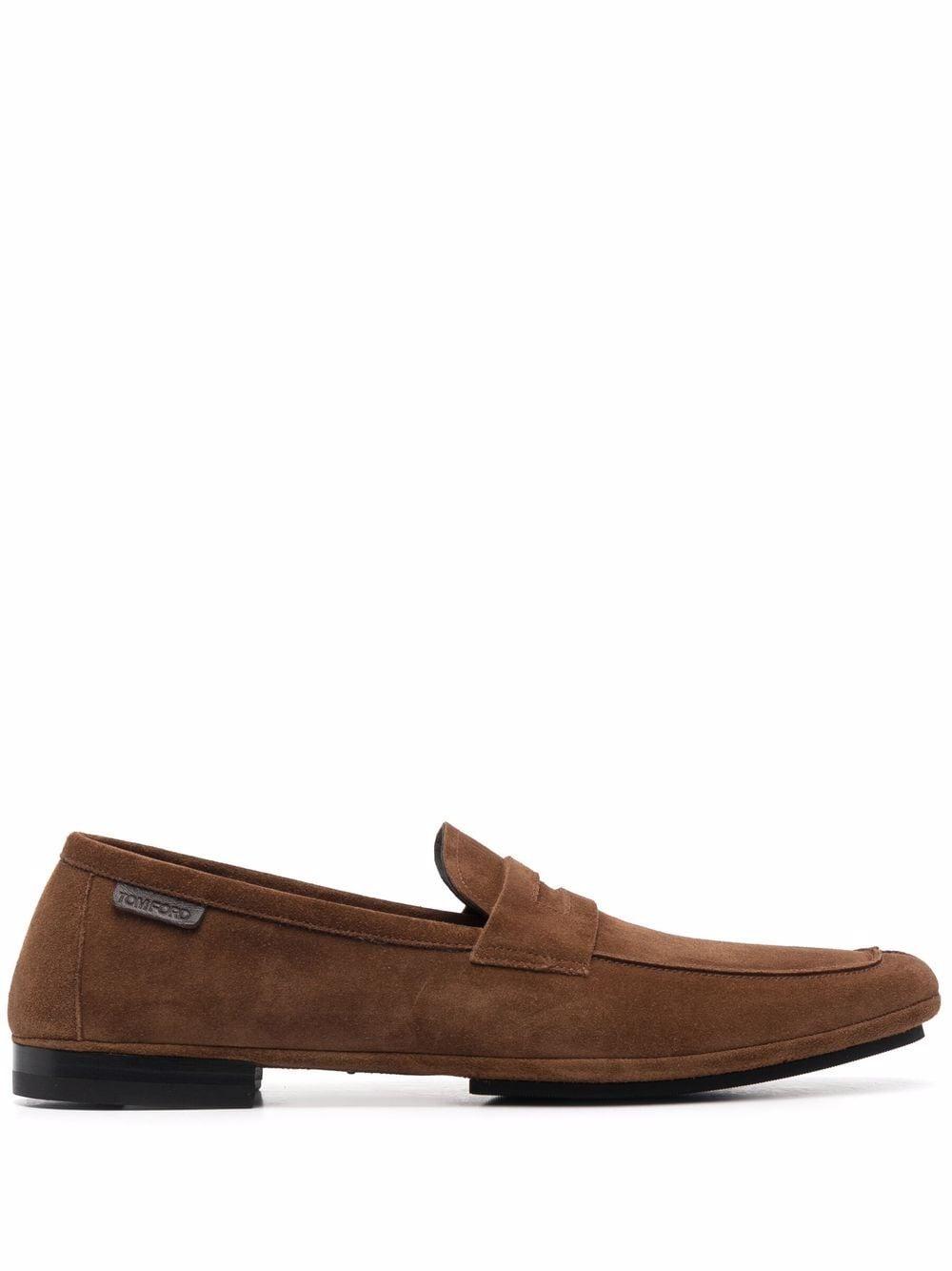 TOM FORD almond toe logo tab loafers - Braun