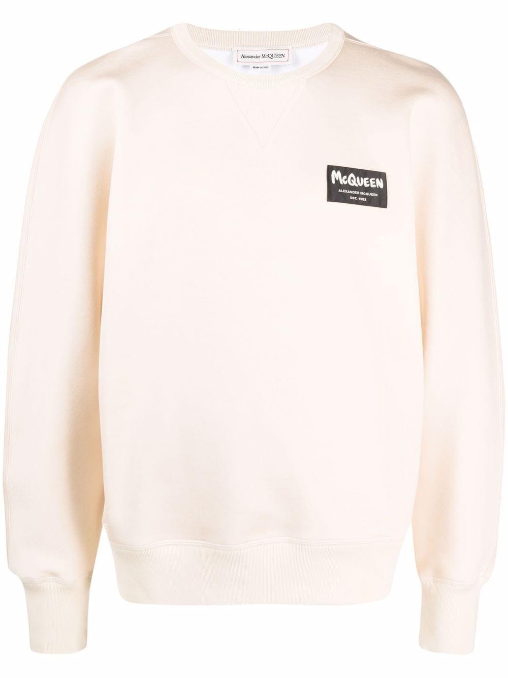 Alexander McQueen logo-patch sweatshirt - Nude