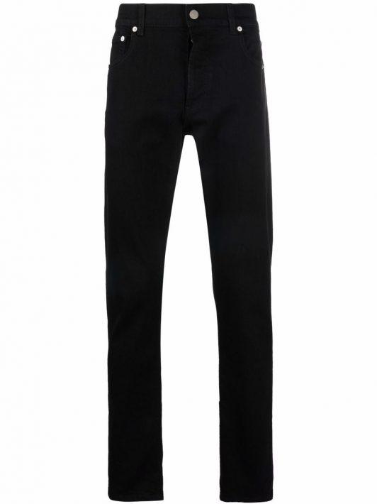 Alexander McQueen logo-print slim-cut jeans - Schwarz