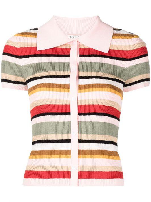 Alice+Olivia striped short-sleeved polo shirt - MULTI