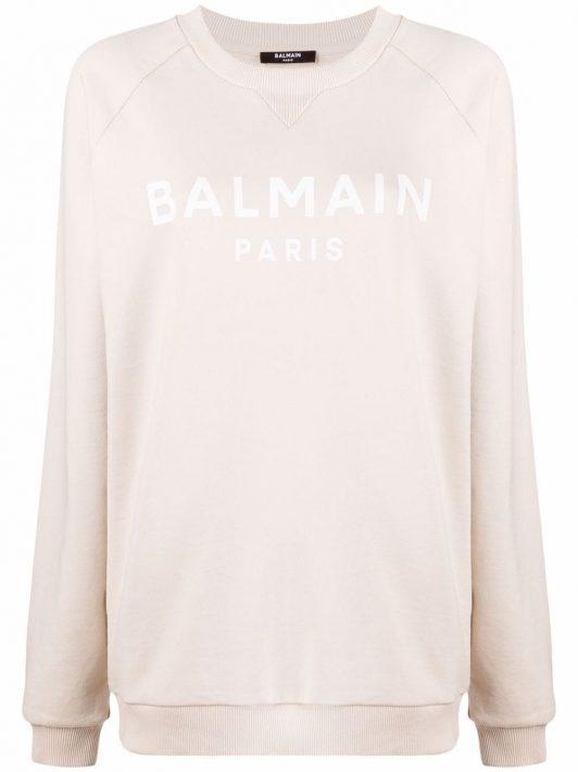Balmain Sweatshirt mit Logo-Print - Nude