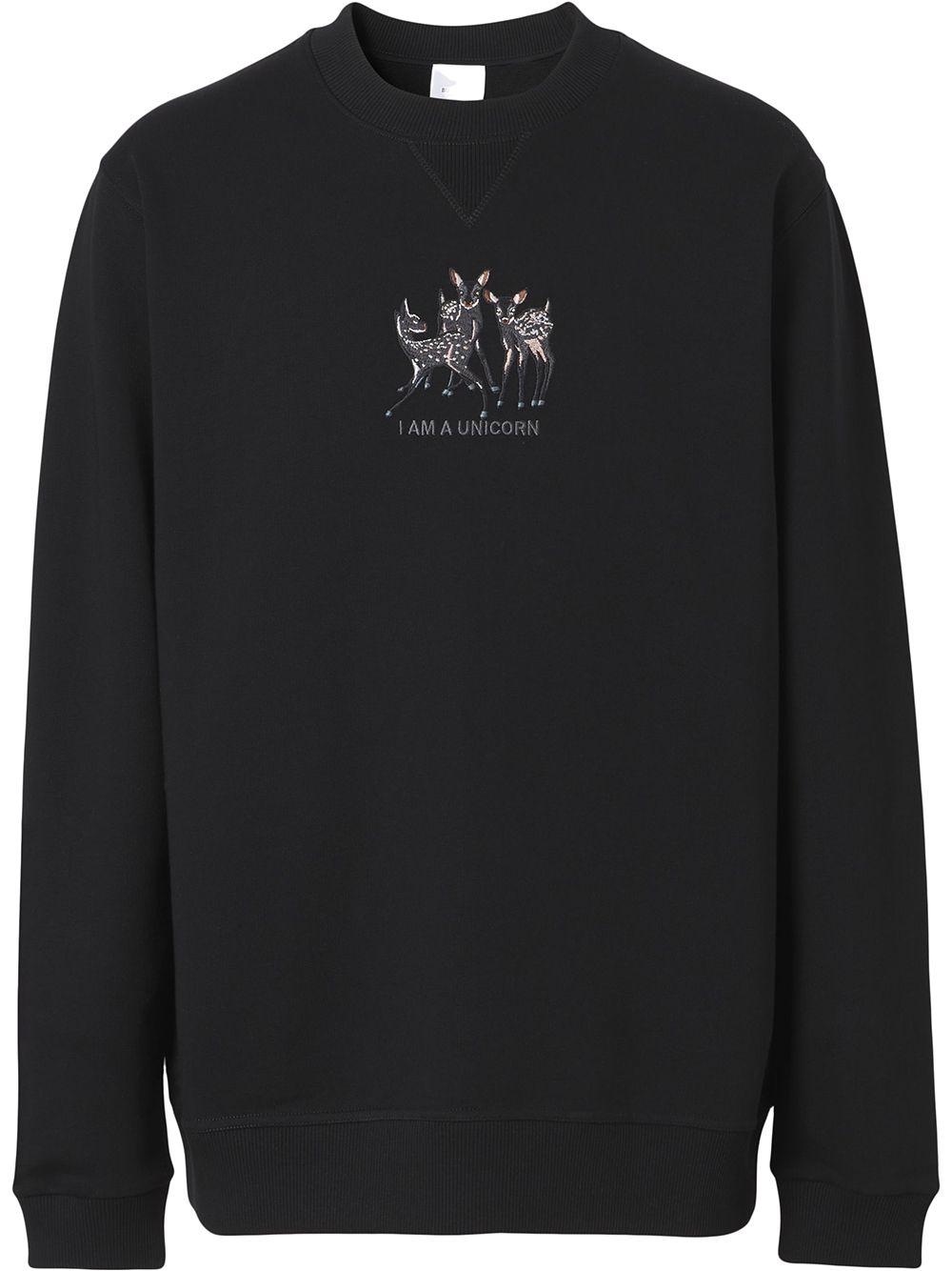 Burberry Sweatshirt mit Rehstickerei - Schwarz