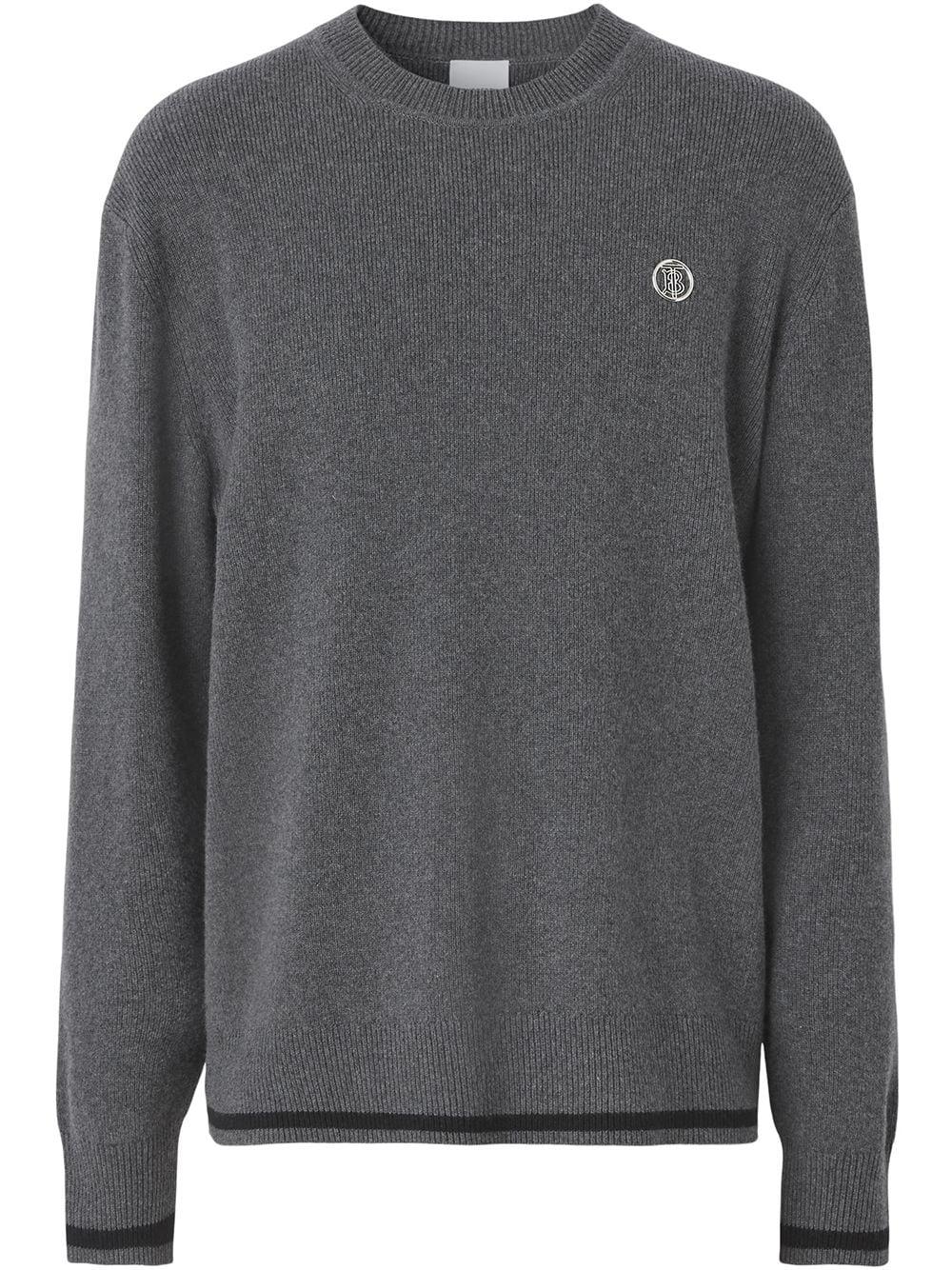 Burberry monogram-motif cashmere-cotton blend jumper - Grau