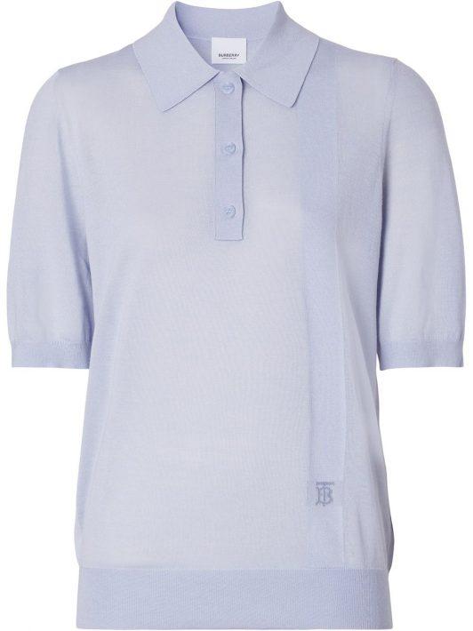 Burberry monogram-motif knitted polo shirt - Blau