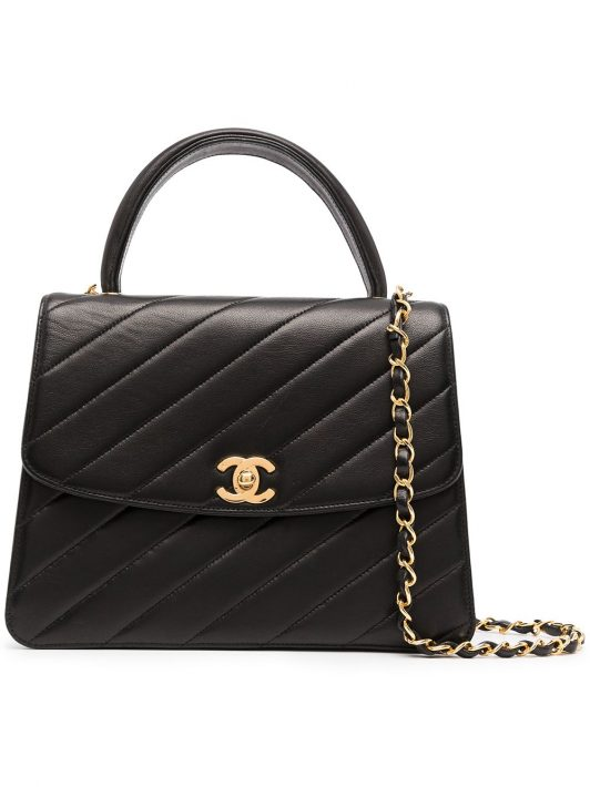 Chanel Pre-Owned 1992 gesteppte Clutch mit CC - Schwarz