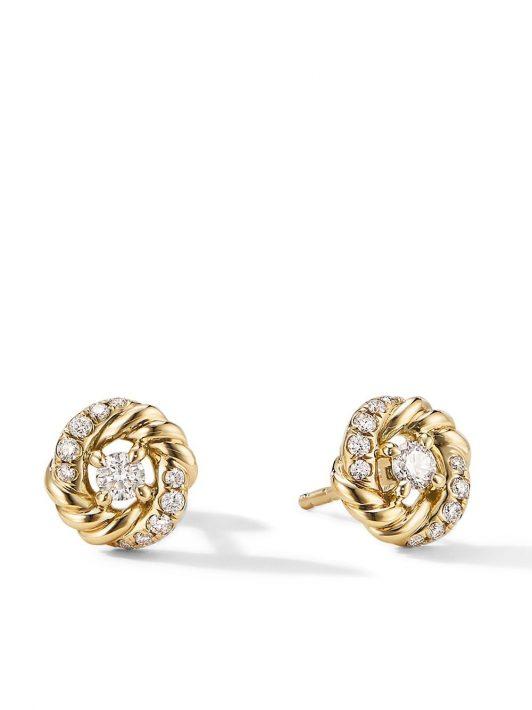 David Yurman Petite Infinity Ohrstecker mit Diamanten 8mm - Gold