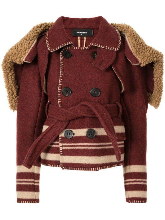 Dsquared2 Mantel mit Cape-Detail - Rot