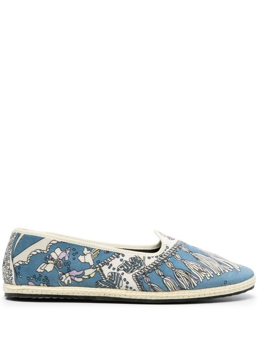 Emilio Pucci Pantoletten mit Print - Blau