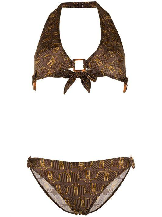 Fendi Pre-Owned Bikini mit Koffer-Print - Braun