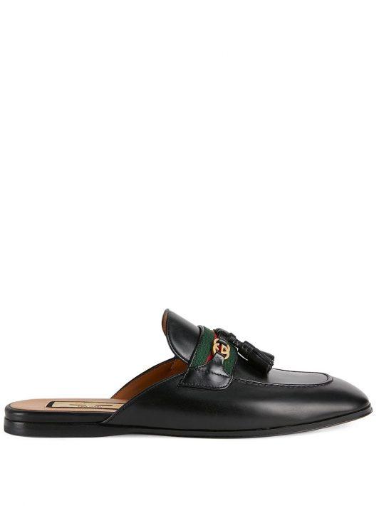 Gucci Web-stripe leather slippers - Schwarz