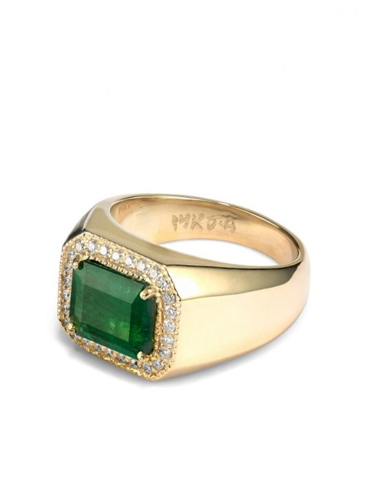 Jacquie Aiche Eckiger Siegelring mit Diamanten-Pavé - Gold