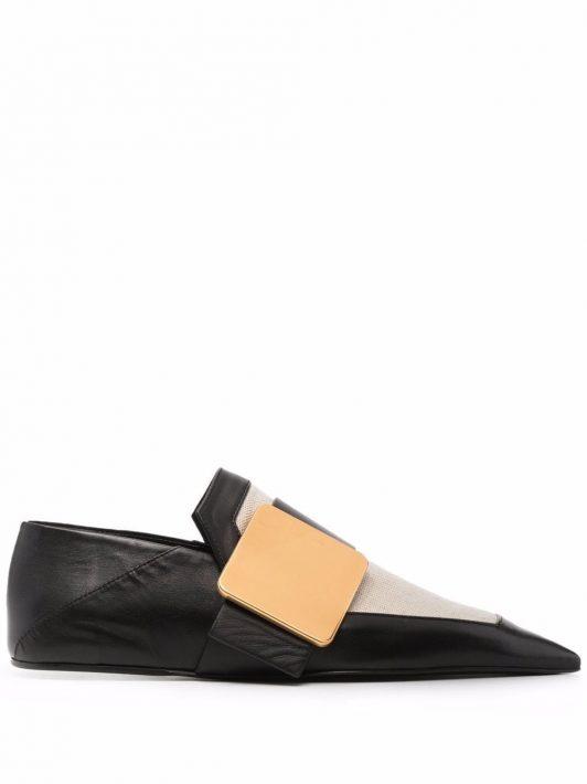 Jil Sander two-tone leather slippers - Schwarz