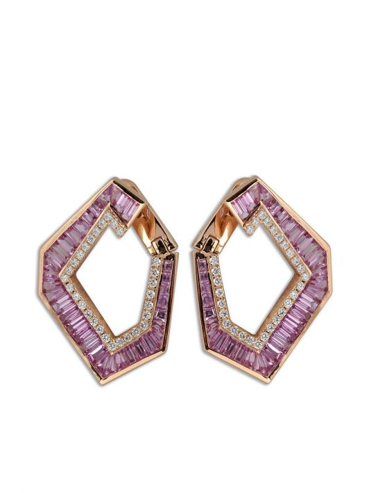 Kavant & Sharart 18kt rose gold Large Origami Link no.5 sapphire and diamond earrings - Rosa