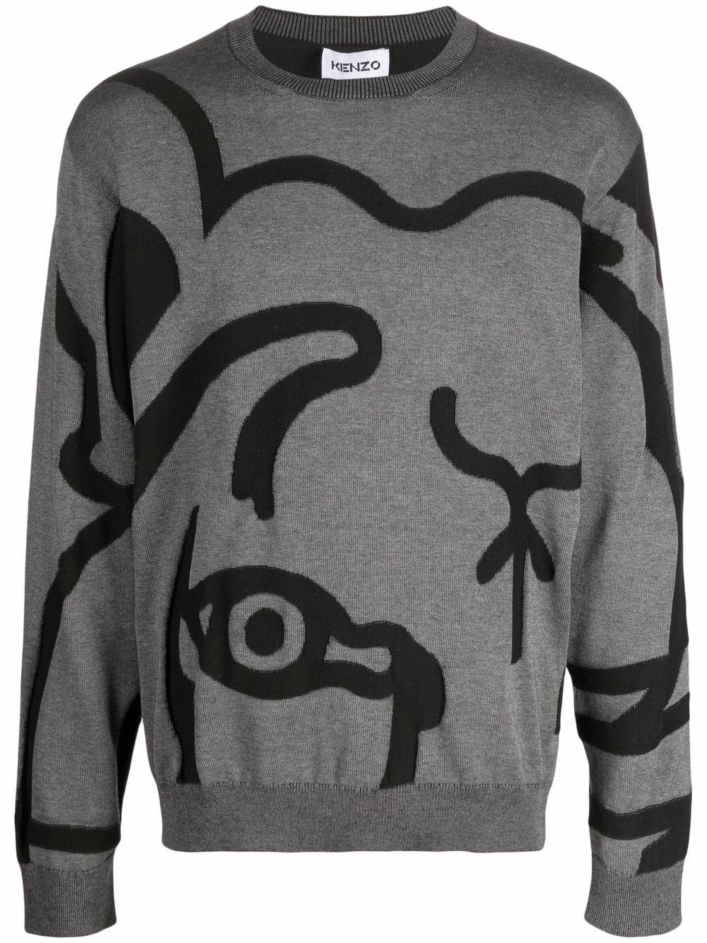 Kenzo abstract tiger print sweatshirt - Grau