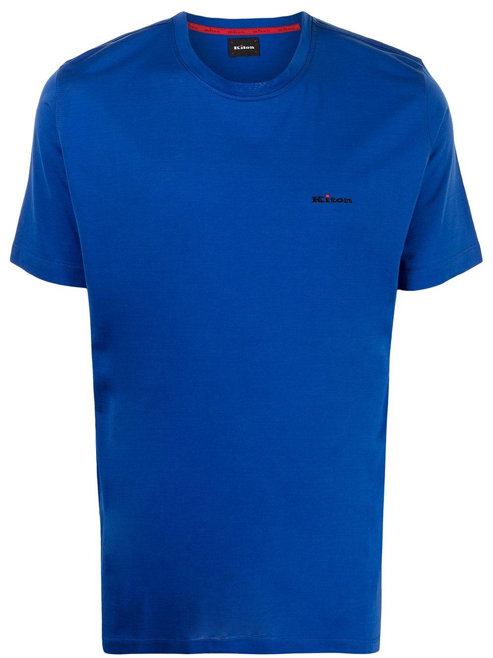 Kiton T-Shirt mit Logo-Stickerei - Blau
