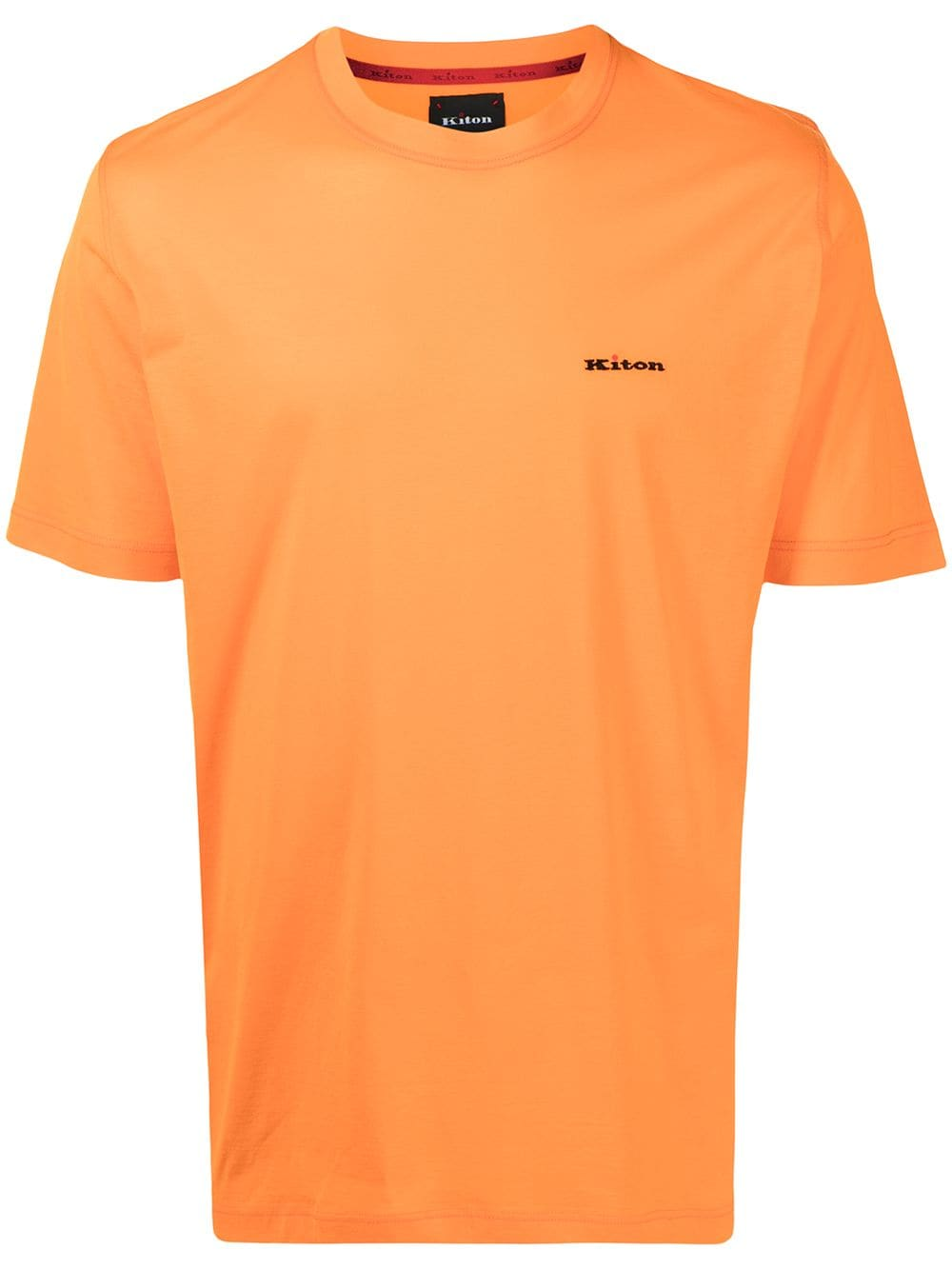 Kiton T-Shirt mit Logo-Stickerei - Orange