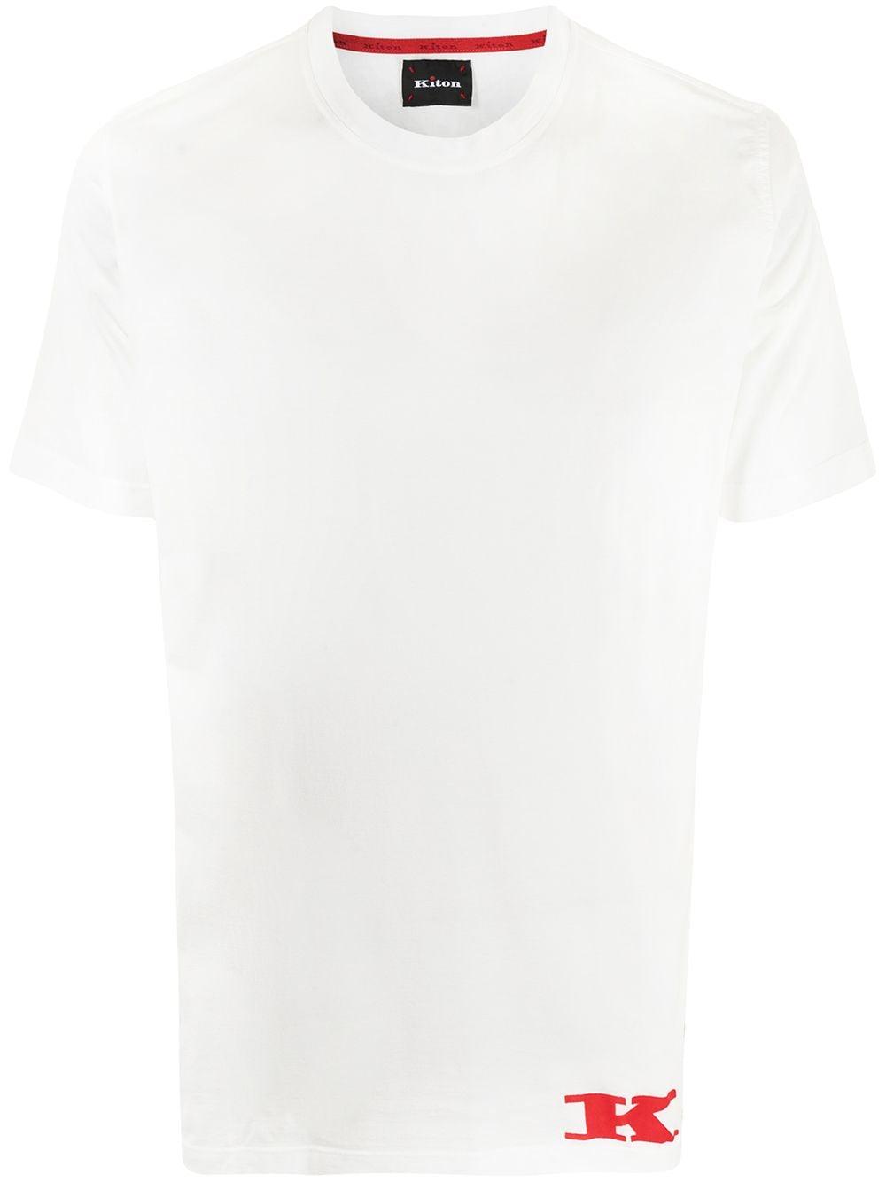 Kiton T-Shirt mit geflocktem Logo - Weiß