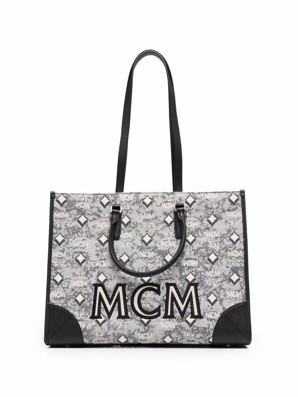 MCM Handtasche mit Jacquardmuster - Schwarz
