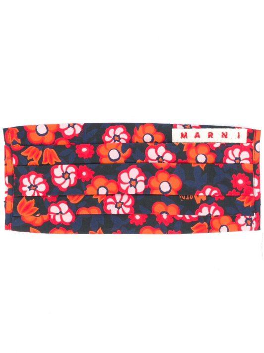 Marni Mundschutz mit Blumen-Print - Schwarz