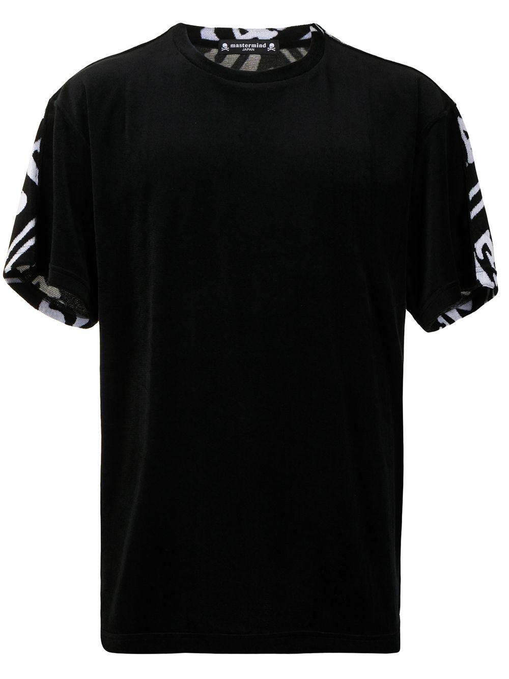 Mastermind Japan T-Shirt in Velours-Optik - Schwarz