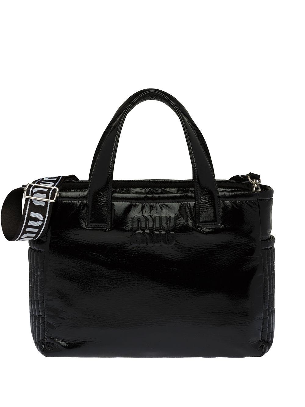 Miu Miu Ciré Handtasche mit Logo-Riemen - Schwarz