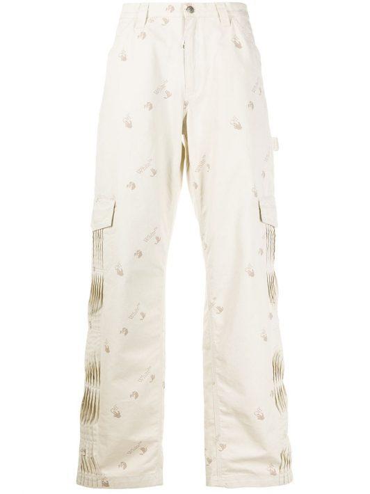 Off-White Hose mit Falten - Nude
