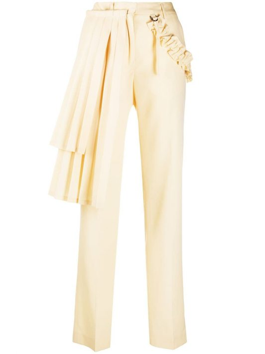 Off-White Hose mit Faltendetail - Nude