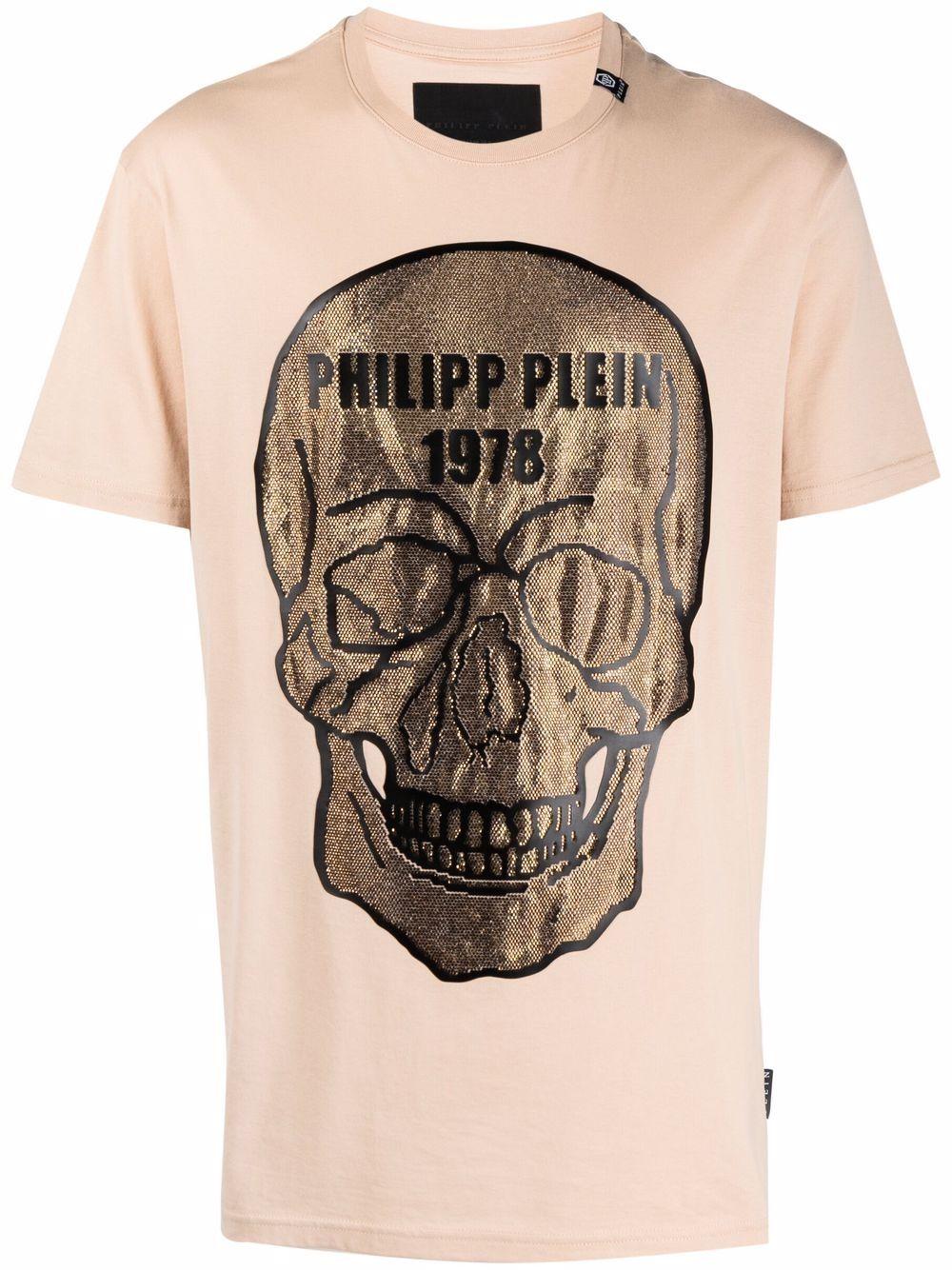 Philipp Plein T-Shirt mit Kristallen - Nude