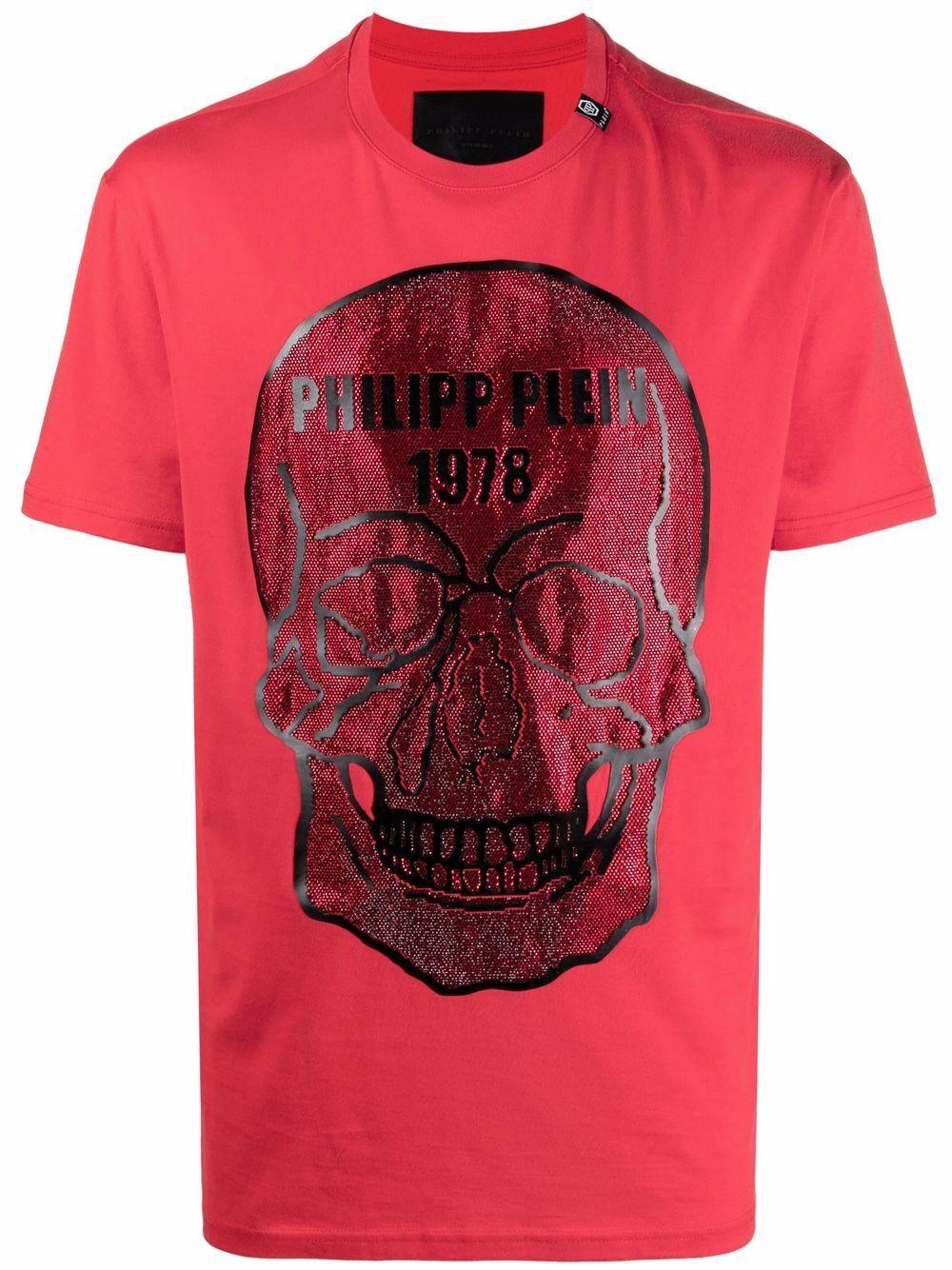 Philipp Plein T-Shirt mit Totenkopf-Applikation - Rot