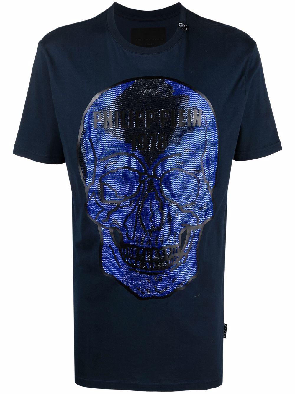Philipp Plein T-Shirt mit verziertem Totenkopf - Blau