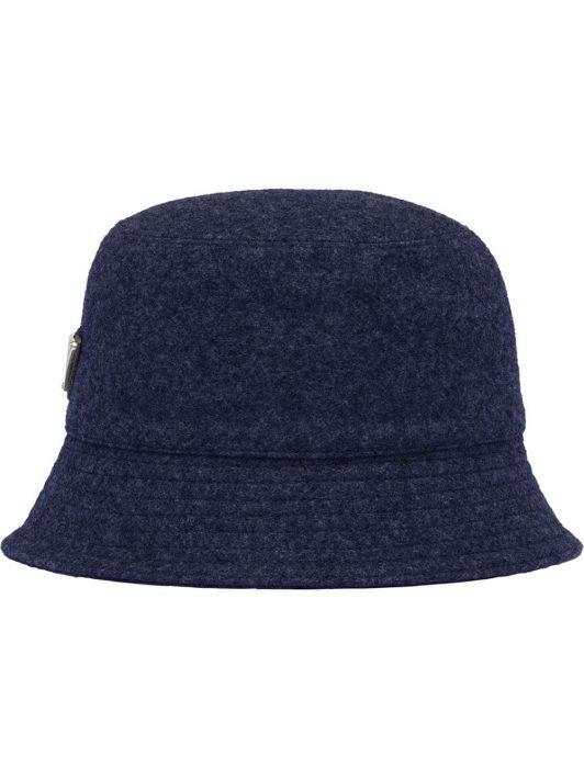 Prada Fischerhut mit Logo-Schild - Blau