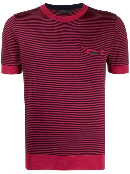 Prada Gestreiftes T-Shirt mit Logo - Rot