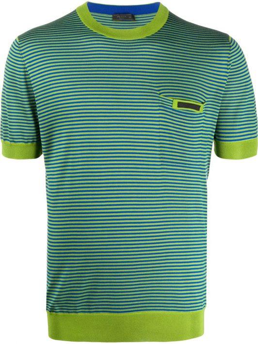 Prada Gestricktes T-Shirt mit Streifen - Blau