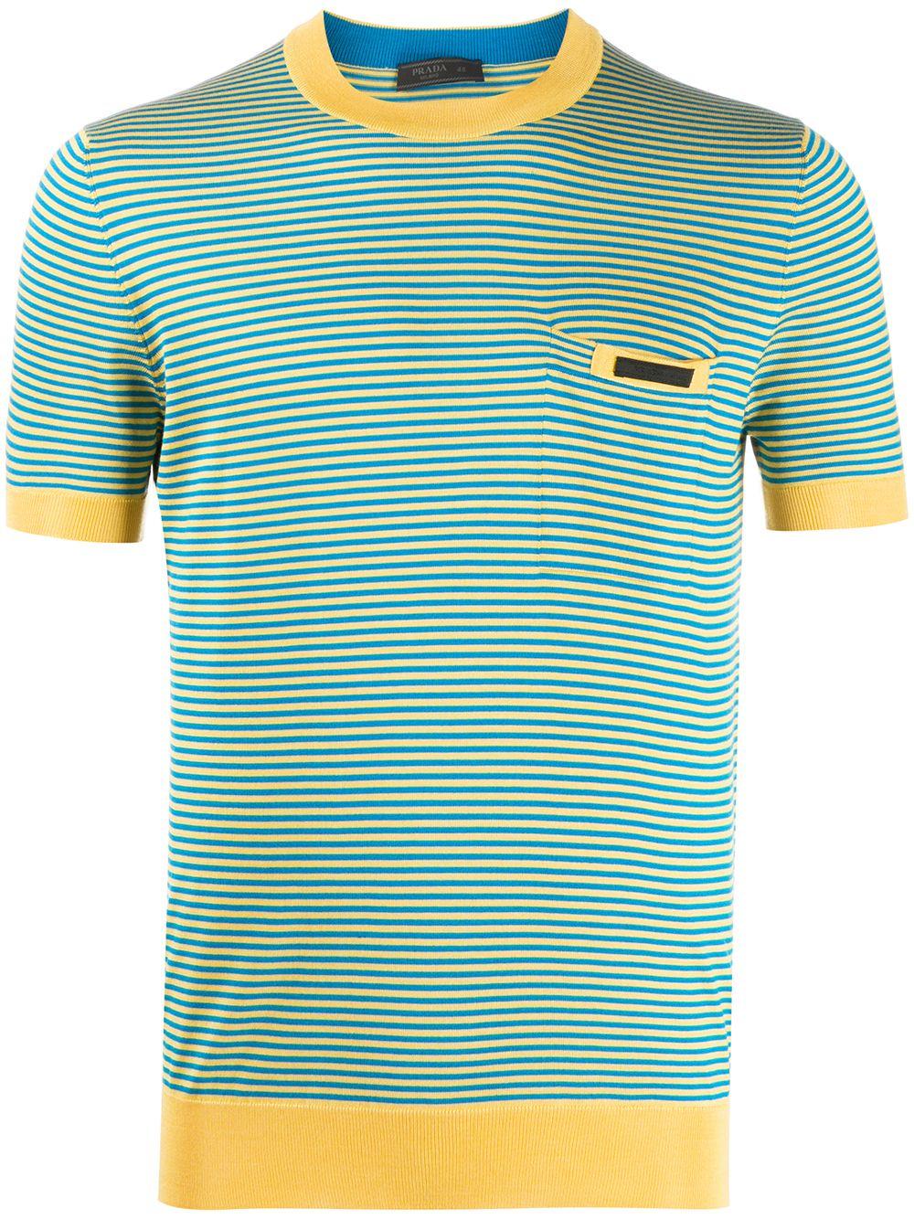 Prada Gestricktes T-Shirt mit Streifen - Gelb