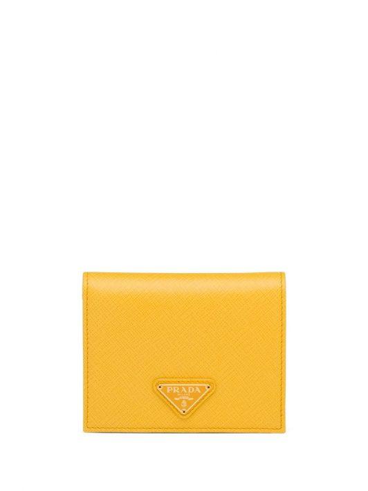 Prada Portemonnaie mit Logo-Schild - Gelb