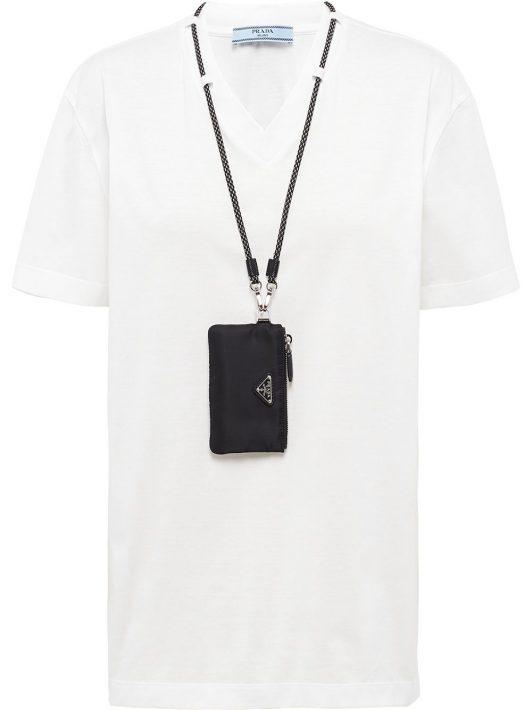 Prada T-Shirt mit V-Ausschnitt - Weiß