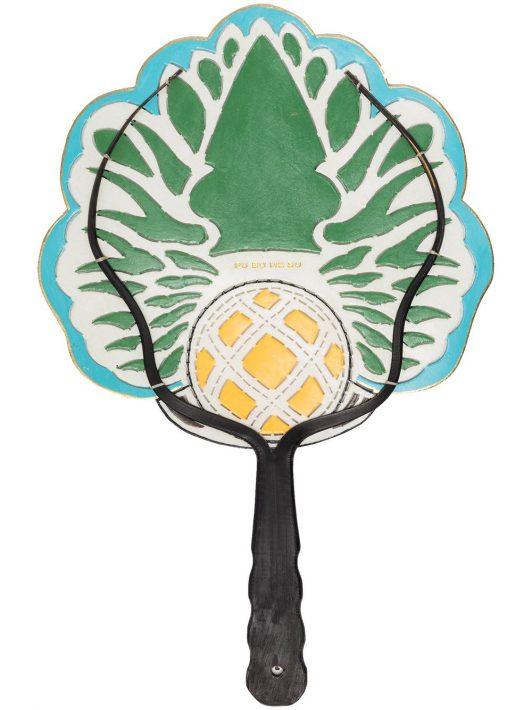 Pubumésu Kleiner Fächer mit Ananas-Design - Blau