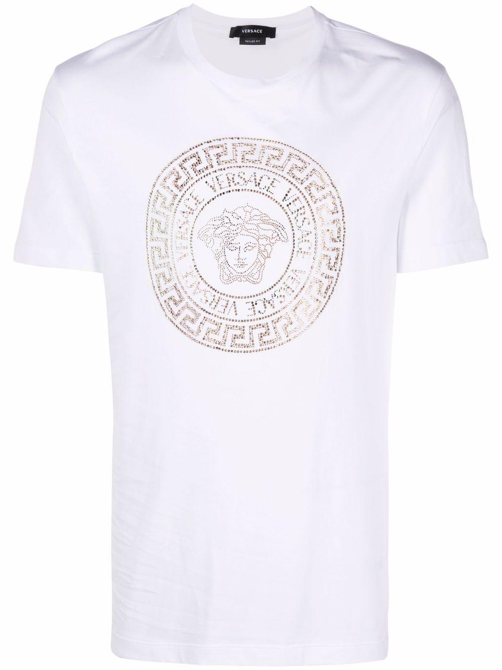 Versace Medusa crystal-embellished short-sleeve T-shirt - Weiß