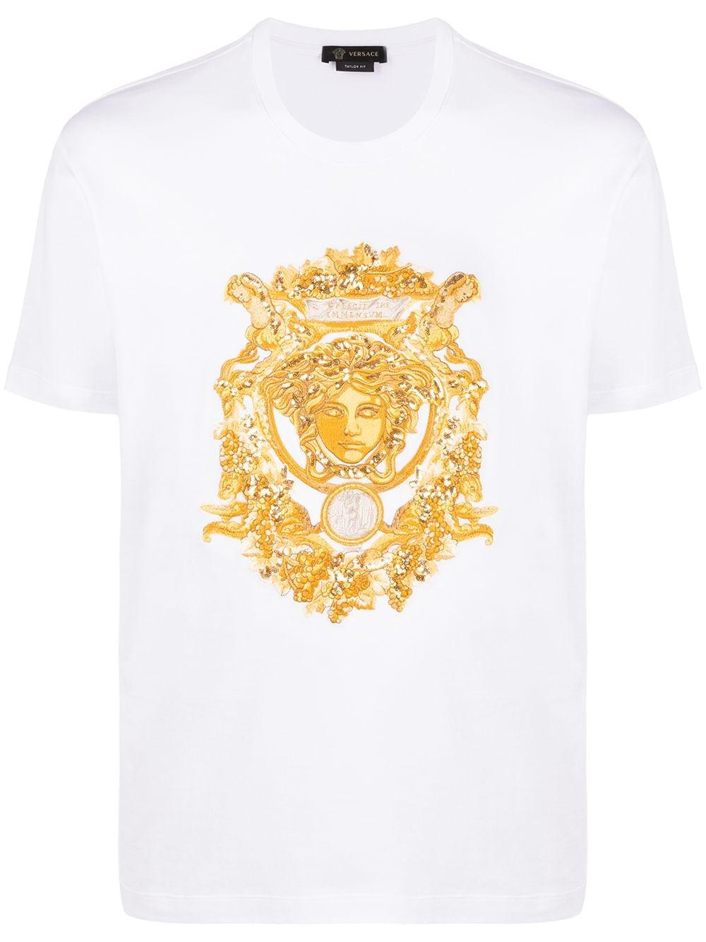 Versace T-Shirt mit Medusa-Stickerei - Weiß