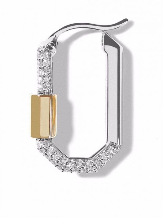 AS29 18kt Lock Weiß- und Gelbgoldohrring mit Diamanten