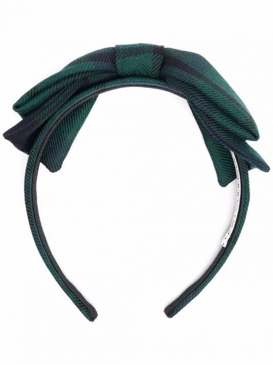 Alessandra Rich check-print bow headband - Grün