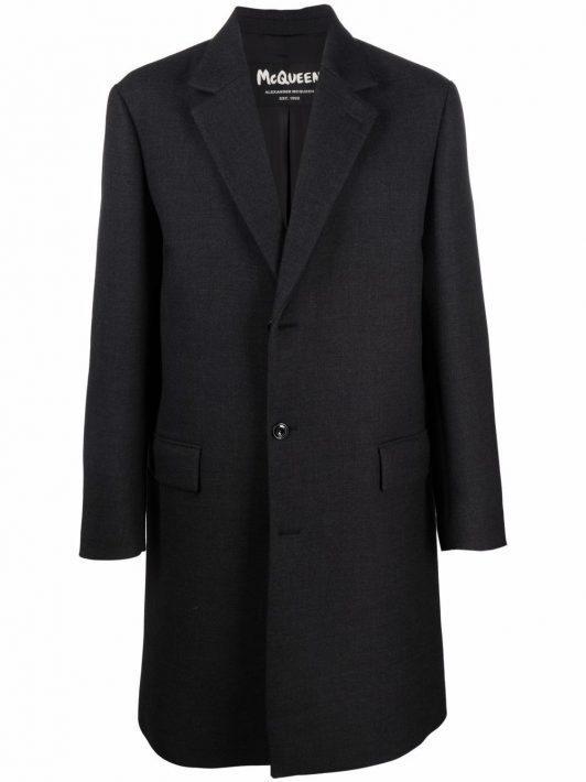 Alexander McQueen Einreihiger Mantel mit Knopfleiste - Grau
