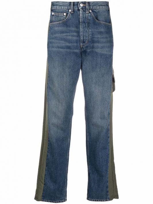 Alexander McQueen Gerade Jeans mit Kontrasteinsätzen - Blau