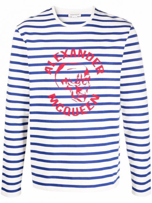 Alexander McQueen Gestreifter Pullover mit Logo-Print - Weiß